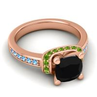 Halo Cushion Aksika Black Onyx Ring with Peridot and Swiss Blue Topaz in 14K Rose Gold