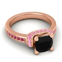 Halo Cushion Aksika Black Onyx Ring with Pink Tourmaline and Ruby in 14K Rose Gold