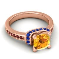 Halo Cushion Aksika Citrine Ring with Blue Sapphire and Garnet in 18K Rose Gold