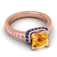 Halo Cushion Aksika Citrine Ring with Blue Sapphire and Pink Tourmaline in 14K Rose Gold