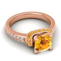 Halo Cushion Aksika Citrine Ring with Diamond in 18K Rose Gold