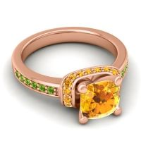 Halo Cushion Aksika Citrine Ring with Peridot in 14K Rose Gold