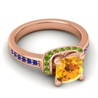 Halo Cushion Aksika Citrine Ring with Peridot and Blue Sapphire in 14K Rose Gold