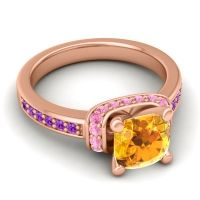 Halo Cushion Aksika Citrine Ring with Pink Tourmaline and Amethyst in 14K Rose Gold