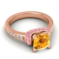 Halo Cushion Aksika Citrine Ring with Pink Tourmaline and Diamond in 14K Rose Gold