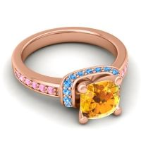 Halo Cushion Aksika Citrine Ring with Swiss Blue Topaz and Pink Tourmaline in 14K Rose Gold