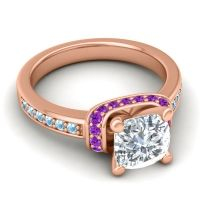 Halo Cushion Aksika Diamond Ring with Amethyst and Aquamarine in 14K Rose Gold