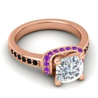 Halo Cushion Aksika Diamond Ring with Amethyst and Black Onyx in 14K Rose Gold