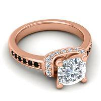 Halo Cushion Aksika Diamond Ring with Black Onyx in 18K Rose Gold