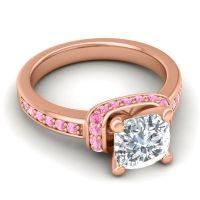 Halo Cushion Aksika Diamond Ring with Pink Tourmaline in 18K Rose Gold