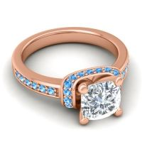 Halo Cushion Aksika Diamond Ring with Swiss Blue Topaz in 14K Rose Gold