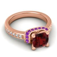 Halo Cushion Aksika Garnet Ring with Amethyst and Diamond in 18K Rose Gold