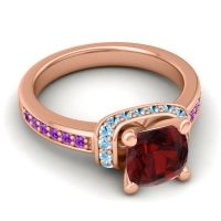Halo Cushion Aksika Garnet Ring with Aquamarine and Amethyst in 18K Rose Gold