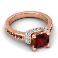 Halo Cushion Aksika Garnet Ring with Aquamarine in 18K Rose Gold