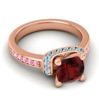 Halo Cushion Aksika Garnet Ring with Aquamarine and Pink Tourmaline in 14K Rose Gold