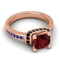Halo Cushion Aksika Garnet Ring with Black Onyx and Blue Sapphire in 14K Rose Gold
