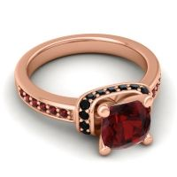 Halo Cushion Aksika Garnet Ring with Black Onyx in 14K Rose Gold