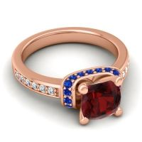 Halo Cushion Aksika Garnet Ring with Blue Sapphire and Diamond in 18K Rose Gold