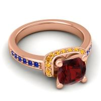 Halo Cushion Aksika Garnet Ring with Citrine and Blue Sapphire in 14K Rose Gold