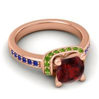Halo Cushion Aksika Garnet Ring with Peridot and Blue Sapphire in 14K Rose Gold