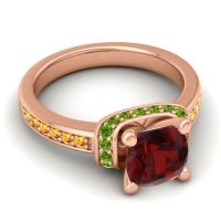 Halo Cushion Aksika Garnet Ring with Peridot and Citrine in 14K Rose Gold