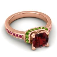 Halo Cushion Aksika Garnet Ring with Peridot and Ruby in 14K Rose Gold