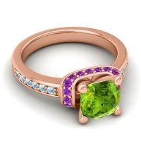 Halo Cushion Aksika Peridot Ring with Amethyst and Aquamarine in 18K Rose Gold