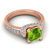 Halo Cushion Aksika Peridot Ring with Aquamarine and Swiss Blue Topaz in 18K Rose Gold