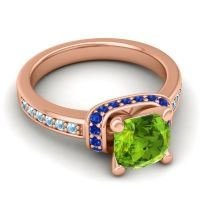 Halo Cushion Aksika Peridot Ring with Blue Sapphire and Aquamarine in 14K Rose Gold