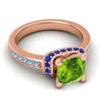 Halo Cushion Aksika Peridot Ring with Blue Sapphire and Swiss Blue Topaz in 14K Rose Gold
