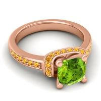 Halo Cushion Aksika Peridot Ring with Citrine in 14K Rose Gold