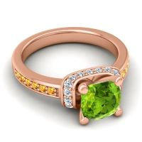 Halo Cushion Aksika Peridot Ring with Diamond and Citrine in 18K Rose Gold