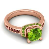 Halo Cushion Aksika Peridot Ring with Garnet in 18K Rose Gold