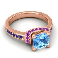 Halo Cushion Aksika Swiss Blue Topaz Ring with Amethyst and Blue Sapphire in 18K Rose Gold