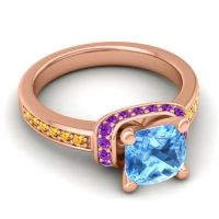 Halo Cushion Aksika Swiss Blue Topaz Ring with Amethyst and Citrine in 18K Rose Gold