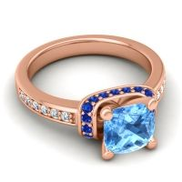 Halo Cushion Aksika Swiss Blue Topaz Ring with Blue Sapphire and Diamond in 18K Rose Gold
