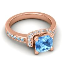 Halo Cushion Aksika Swiss Blue Topaz Ring with Diamond and Aquamarine in 14K Rose Gold