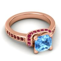 Halo Cushion Aksika Swiss Blue Topaz Ring with Ruby and Garnet in 14K Rose Gold