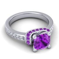 Halo Cushion Aksika Amethyst Ring with Diamond in 18k White Gold