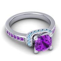 Halo Cushion Aksika Amethyst Ring with Aquamarine in Platinum