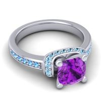 Halo Cushion Aksika Amethyst Ring with Aquamarine and Swiss Blue Topaz in 14k White Gold