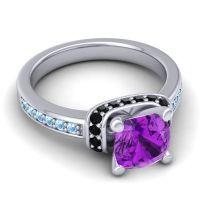 Halo Cushion Aksika Amethyst Ring with Black Onyx and Aquamarine in 14k White Gold