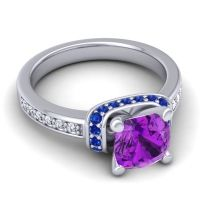Halo Cushion Aksika Amethyst Ring with Blue Sapphire and Diamond in Platinum