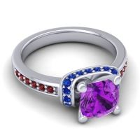 Halo Cushion Aksika Amethyst Ring with Blue Sapphire and Garnet in 18k White Gold