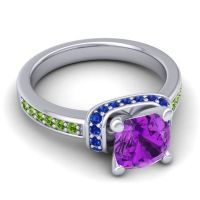 Halo Cushion Aksika Amethyst Ring with Blue Sapphire and Peridot in Platinum