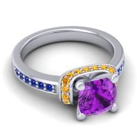 Halo Cushion Aksika Amethyst Ring with Citrine and Blue Sapphire in Platinum