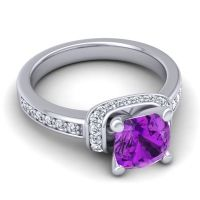 Halo Cushion Aksika Amethyst Ring with Diamond in 14k White Gold