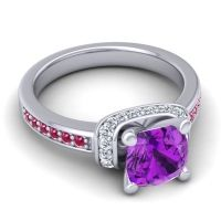 Halo Cushion Aksika Amethyst Ring with Diamond and Ruby in 14k White Gold