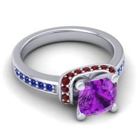 Halo Cushion Aksika Amethyst Ring with Garnet and Blue Sapphire in 18k White Gold