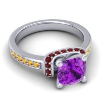 Halo Cushion Aksika Amethyst Ring with Garnet and Citrine in 14k White Gold